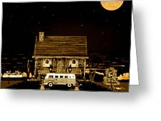Miniature Log Cabin Scene With Old Vintage Classic 1962 Coca Cola Flower Power V.w. Bus In Sepia  Greeting Card by Leslie Crotty