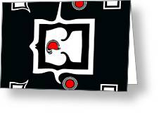 Minimalism Abstract Geometric Black White Red Art No.390. Greeting Card by Drinka Mercep