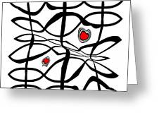 Minimalist Art Black White Red Abstract Art No.206. Greeting Card