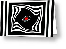 Minimalist Art Black White Red No.17 Greeting Card by Drinka Mercep