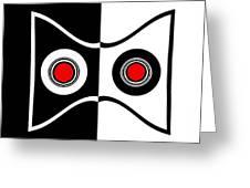 Minimalist Art Geometric Black White Red Abstract Print No.50. Greeting Card