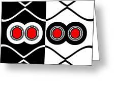 Minimalism Geometric Art Black White Red Abstract Print No.83. Greeting Card by Drinka Mercep