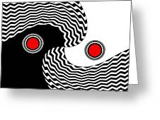 Minimalist Op Art Black White Red No.216 Greeting Card by Drinka Mercep