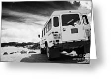 Ministerio De Medio Ambiente Land Rover At Teide National Park Tenerife Canary Islands Spain Greeting Card