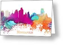 Minneapolis City Colored Skyline Greeting Card