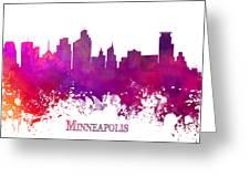 Minneapolis City Skyline Purple Greeting Card