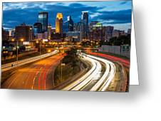 Minneapolis Light Trails Greeting Card
