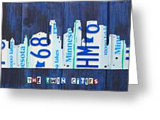 Minneapolis Minnesota City Skyline License Plate Art The Twin Cities Greeting Card