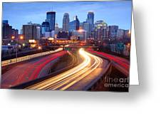 Minneapolis Skyline At Dusk Early Evening Greeting Card