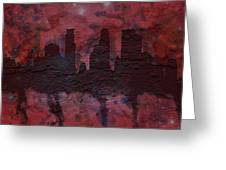 Minneapolis Skyline Brick Wall Mural Greeting Card