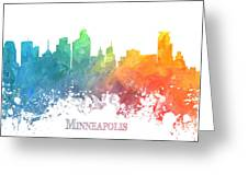 Minneapolis Skyline Colored Greeting Card