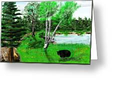 Minnesota Birch Lake And Bear Greeting Card