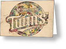 Minnesota Twins Poster Vintage Greeting Card