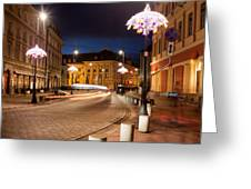 Miodowa Street In Warsaw At Night Greeting Card