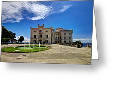 Miramare Castle With Fountain Greeting Card