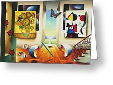 Miro And Sunflowers Greeting Card