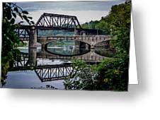 Mirrored Bridges Greeting Card