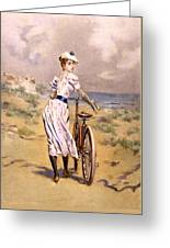 Miss Bicycle 1894 Greeting Card