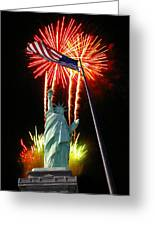 Miss Liberty And Fireworks Greeting Card