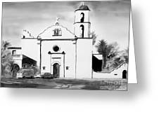 Mission San Luis Rey Bw Blue Greeting Card by Kip DeVore