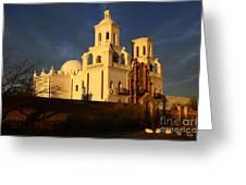 Mission San Xavier Del Bac Last Light Greeting Card