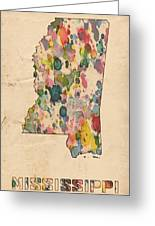 Mississippi Map Vintage Watercolor Greeting Card
