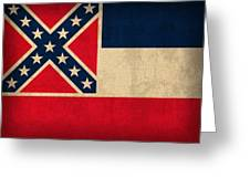 Mississippi State Flag Art On Worn Canvas Greeting Card