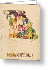Missouri Map Vintage Watercolor Greeting Card