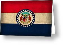 Missouri State Flag Art On Worn Canvas Greeting Card
