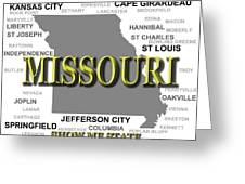 Missouri State Pride Map Silhouette  Greeting Card