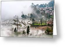 Mist And Village Greeting Card