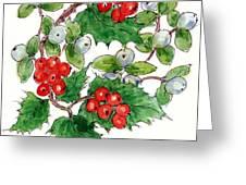 Mistletoe And Holly Wreath Greeting Card