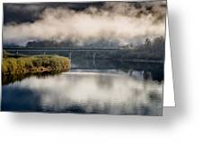 Mists And Bridge Over Klamath Greeting Card