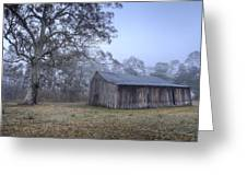 Misty Barn Greeting Card by Steve Caldwell