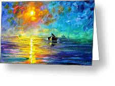 Misty Calm - Palette Knife Oil Painting On Canvas By Leonid Afremov Greeting Card