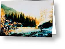 Misty Fishing Morning Greeting Card