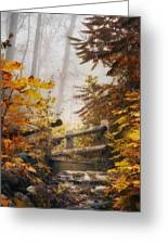 Misty Footbridge Greeting Card