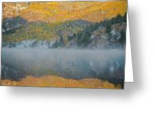 Misty Lake With Aspen Trees Greeting Card