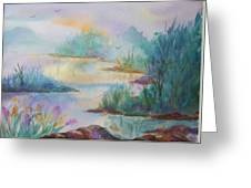Misty Morn On A  Mountain Lake Greeting Card