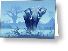 Misty Blue Morning In The Tsavo Greeting Card