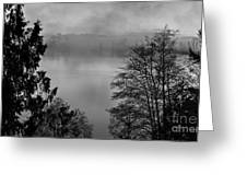 Misty Morning Sunrise Black And White Art Prints Greeting Card