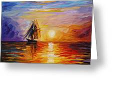 Misty Ship - Palette Knife Oil Painting On Canvas By Leonid Afremov Greeting Card