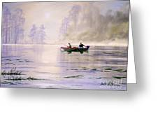 Misty Sunrise On The Lake Greeting Card