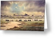 Misty Sunrise - Windsor Meadows Greeting Card