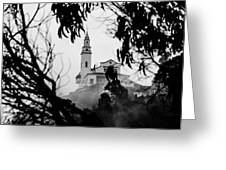 Misty View Of Monserrate Church Greeting Card