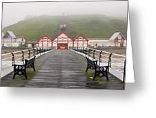 Misty View Of Victorian Pier  Redcar Greeting Card