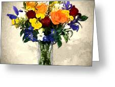 Mixed Bouquet Of Tropical Colored Flowers On Textured Vignette Oil Painting Greeting Card