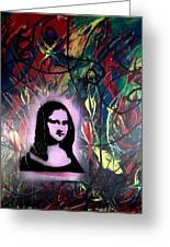 Mixed Media Abstract Post Modern Art By Alfredo Garcia Mona Lisa 2 Greeting Card