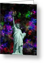 Mixed Media Statue Of Liberty Greeting Card