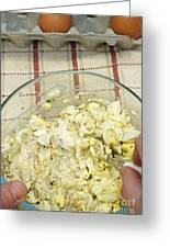 Mixing Egg Salad Ingredients Greeting Card